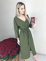 Женское стильное двухстороннее повседневное миди платье с длинным рукавом (креп костюмка) 3 цвета