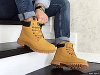 Мужские зимние ботинки на меху в стиле Timberland, экокожа, горчичные 42 (27 см)