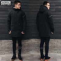 Парка куртка зимняя мужская черная Стафф Staff look black