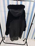 Женская удлиненная дубленка с капюшоном, фото 6