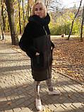 Женская удлиненная дубленка с капюшоном, фото 2