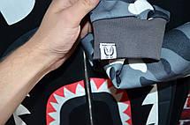 Мужская кофта - свитшот в стиле Bape Zip черная-камуфляж, фото 2