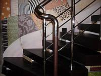 Лестница из нержавейки и дерева
