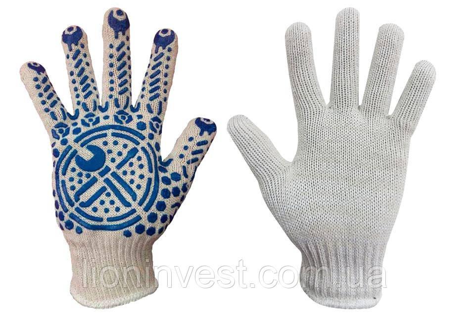 Рабочие перчатки трикотажные с ПВХ покрытием, белые 10 класс