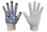 Рабочие перчатки трикотажные с ПВХ покрытием, белые 10 класс, фото 1