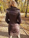 Женская удлиненная дубленка с капюшоном, фото 5