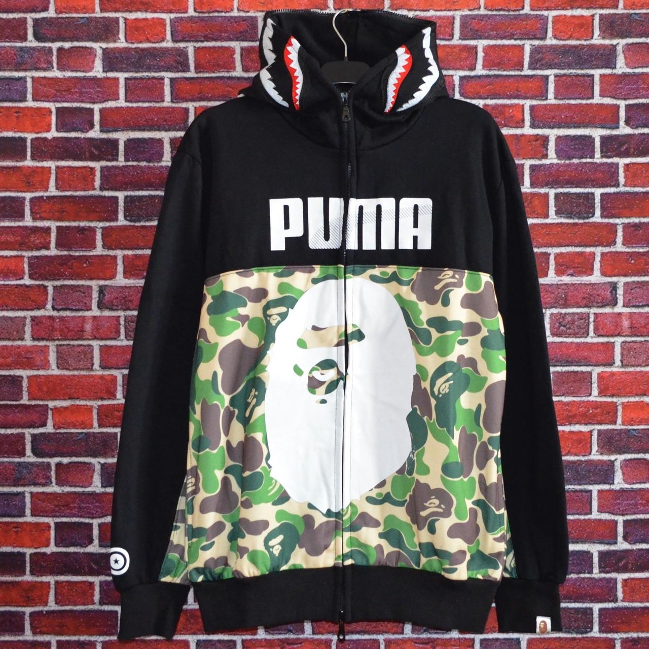 Мужская кофта - Толстовка в стиле Bape x Puma зеленая-камуфляж
