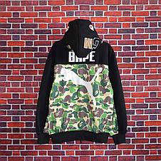 Мужская кофта - Толстовка в стиле Bape x Puma зеленая-камуфляж, фото 2