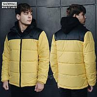 Парка куртка зимняя мужская желтая с черным Стафф Staff retro black and yellow