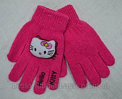Перчатки детские вязанные для девочки Hello Kitty розовые (Ugur, Турция)