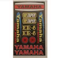 """Наклейка МОТО """"Yamaha"""" (19x11) малая красный фон"""