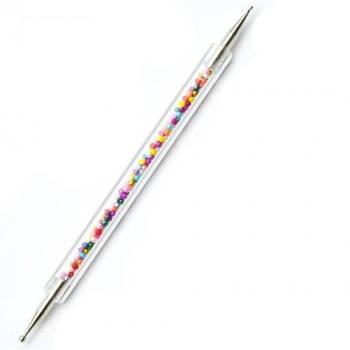 Дотс с прозрачной ручкой, наполненной  бусинами