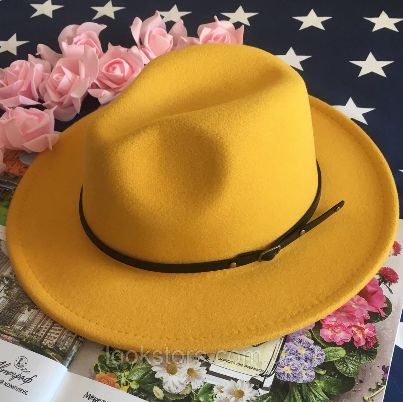 Шляпа Федора унисекс с устойчивыми полями Classic желтая
