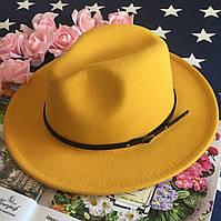 Шляпа Федора унисекс с устойчивыми полями Classic желтая, фото 1