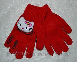 Рукавички дитячі в'язані для дівчинки Hello Kitty червоні (Ugur, Туреччина)