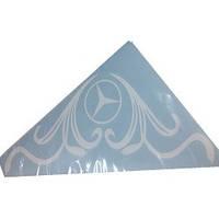 Наклейка боковое.стекло  белая  Логотип Мерс  углом 30х30 см (2-шт компл.)