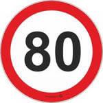 """Наклейка Предупреждающая """"80""""ограничение скорости ч/б"""