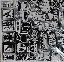 Наклейка-стикер  с подрезкой  черно-белая №4 (28х55)