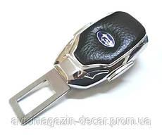 """Заглушка ремня безопасности метал """"Subaru"""" (1шт) цинк.сплав + кожа + вход под ремень """"FLY"""" (№3)"""