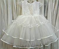 3.247 Блестящее белое нарядное детское платье с вышивкой на 2-3 годика