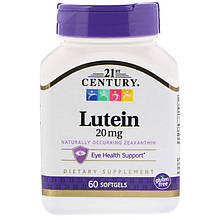 "Лютеїн для зору, 21st Century ""Lutein"" 20 мг (60 гельових капсул)"