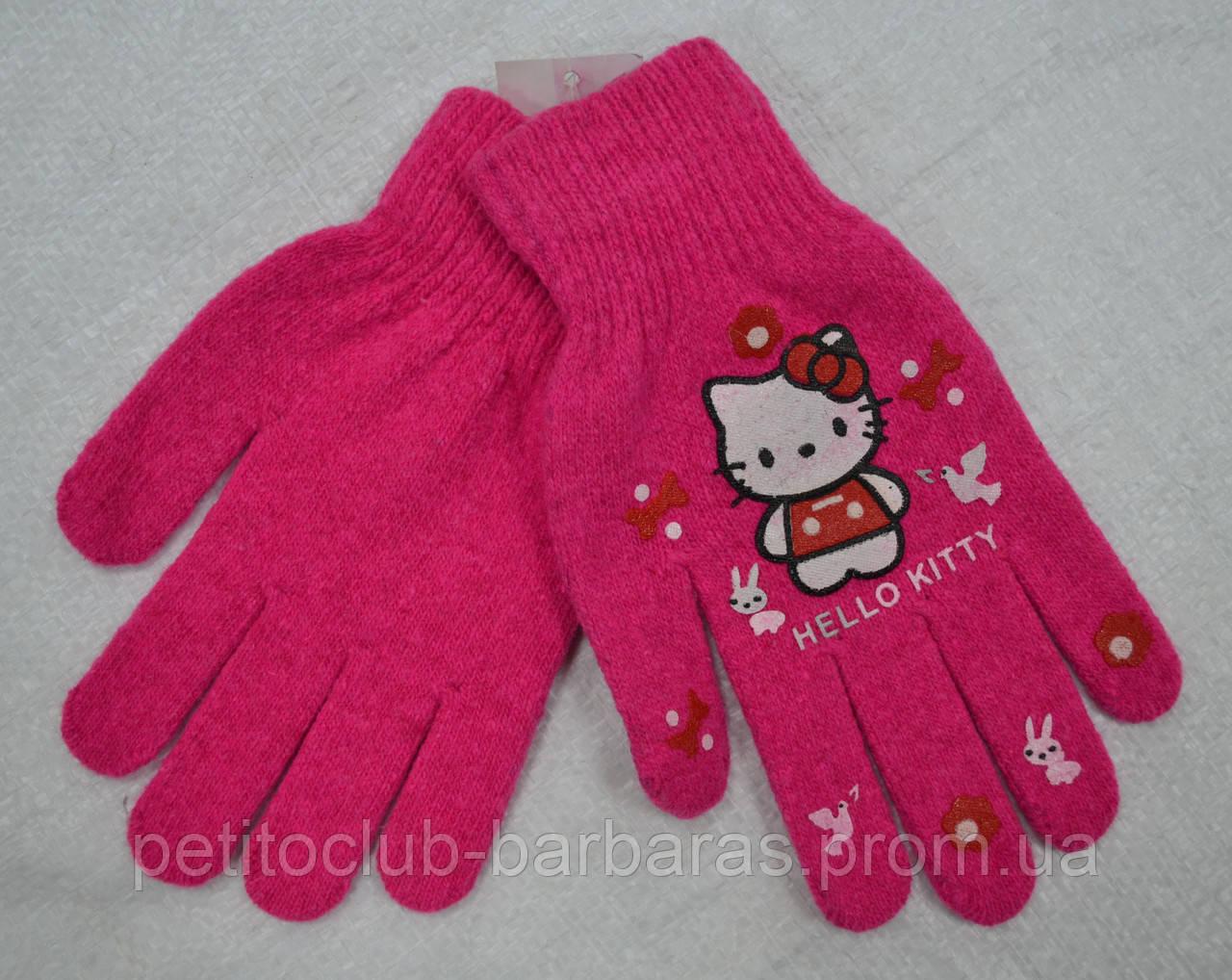 Рукавички дитячі в'язані для дівчинки Hello Kitty рожеві (Ugur, Туреччина)