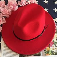 Шляпа Федора унисекс с устойчивыми полями Classic красная, фото 1