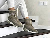 Высокие женские зимние ботинки Adidas,оливковые