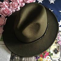 Шляпа Федора унисекс с устойчивыми полями Classic зеленая (хаки), фото 1
