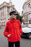 Женская короткая красная шубка автоледи из красивого эко меха под кролика