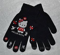 Рукавички дитячі в'язані для дівчинки Hello Kitty чорні (Ugur, Туреччина)