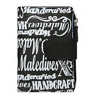 Женский кожаный кошелек в два сложения Maledives N19414 Black