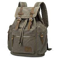 Городской рюкзак из Canvas и лошадиной кожи, Army Green BP-001GN