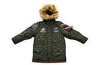 Модная детская очень теплая зимняя парка Olymp Аляска с нашивками Ukrainian Falcons капюшон с опушкой цвет заки
