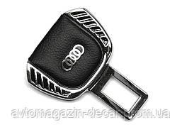 """Заглушка ремня безопасности метал """"Audi"""" (1шт) цинк.сплав + кожа  """"FLY"""" (тип №1)"""