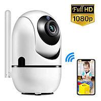 Беспроводная IP смарт камера с датчиком движения ночным видением и панорамным обзором Wi Fi  видеоняня