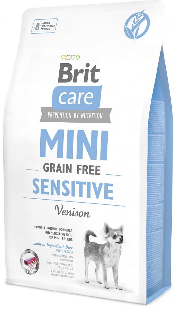 Сухой корм для собак малых пород с чувствительным пищеварением Brit Care Mini Sensitive с олениной 7 кг