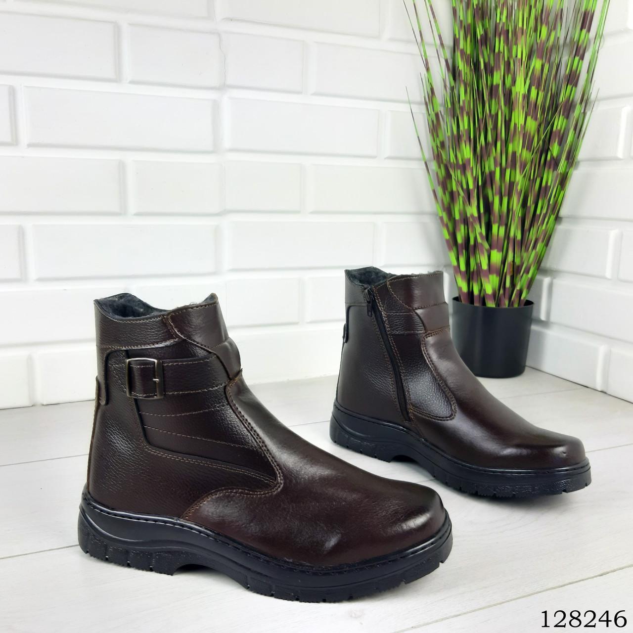 """Ботинки мужские зимние коричневые """"Irve"""" эко кожа, Зимние ботинки. Обувь мужская. Обувь зимняя"""