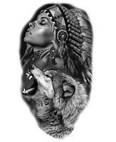 """Наклейка """" Девушка и волк""""  48*26,5 см  (1шт)   нт 0005"""