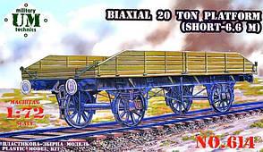 Двухосевая 20-ти тонная платформа (короткая - 6,6 м). 1/72 UMT 614