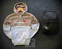 Худи утепленное + Рюкзак  в стиле Calvin Klein  beige-white / кофта зимняя на флисе, фото 1