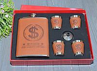 """Подарочный набор Фляга 4 рюмки """"Доллар""""., фото 1"""