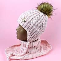 Набор шапка машишка для девочки Денді розовый зима размер 48-50 тм Babasik