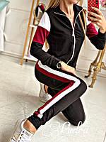 Спортивный костюм женский: кофточка на змейке,брюки с двойным лампасом, резинка + лента, на манжете (42-48)