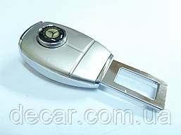 "Заглушка ремня безопасности метал ""Mercedes"" (1шт) цинк.сплав + вход под ремень ""FLY"" (тип №4)"