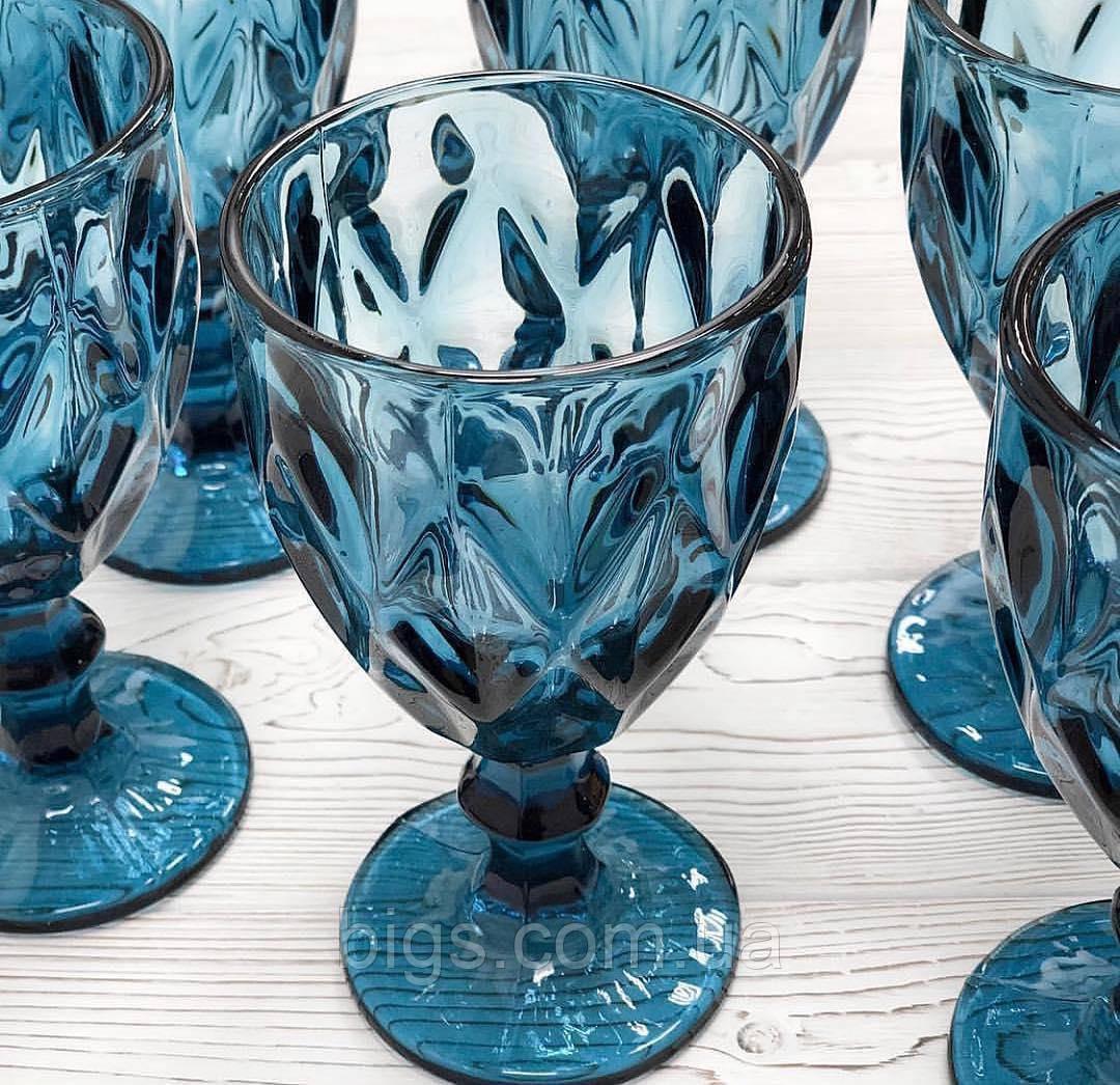 """Набор бокалов синие 6 шт, 250 мл """"Изумруд"""" ( бокалы для вина )"""