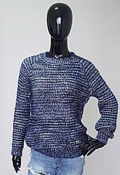 Молодёжный вязанный джемпер синего цвета