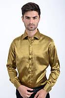 Мужская рубашка с длинными рукавами, нарядная 113RPass003 цвет Темно-золотой