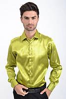 Мужская рубашка с длинными рукавами, нарядная 113RPass003 цвет Зеленый