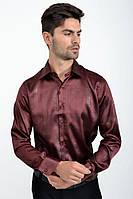 Мужская рубашка с длинными рукавами, нарядная 113RPass003 цвет Вишневый